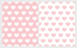 Hand Drawn Cute Hearts Vector Patterns Set. White and Pink Infantile Graphic. Regular Soft Pastel Pink Design. White and Pink Backgrounds. Cute Childish Style stock illustration