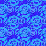 Regular spirals and circles pattern in turquoise and blue shades overlaying Stock Photos