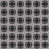Regular spirals pattern black and white on silver gray shifted Stock Images