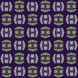 Regular spirals pattern green and gray with black outlines on purple shifted. Abstract geometric background. Regular spirals pattern light green and light gray Stock Photos