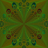 Regular spirals pattern green ocher brown turquoise red centered Royalty Free Stock Photo