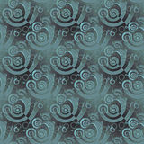 Regular spirals pattern pale green gray overlaying shifty blurred Stock Photos