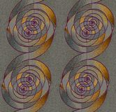 Regular spirals pattern silver gray and gold with purple outlines vertically. Abstract geometric background. Regular spirals pattern silver gray and gold with Stock Image