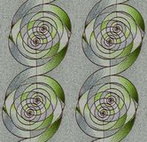 Regular spirals pattern silver gray and green with dark brown outlines vertically. Abstract geometric background. Regular spirals pattern silver gray and green Stock Image