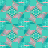 Regular squares and diamond pattern with circles pink and turquoise green shifted Stock Photo