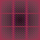 Regular squares pattern with oval elements violet magenta gray black on dark red centered and blurred Stock Photos