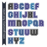 Regular stylish font with straight lines only. Triple sans serif Stock Photo