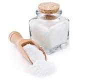 Regular table salt in a glass bottle Stock Image