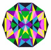 Regular ten sided polygon. A regular ten sided polygon (almost circular) filled with many colored triangles in yellow, purple, green, black and blue, white Royalty Free Stock Photos