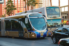 A regular and tourist buses in Las Vegas, Nevada. Royalty Free Stock Images