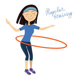 Regular training, Spin the hoop girl Stock Photo