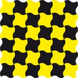 Regular vector pattern. Wavy squares in yellow and black Stock Image
