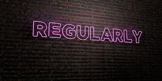 REGULARLY -Realistic Neon Sign on Brick Wall background - 3D rendered royalty free stock image. Can be used for online banner ads and direct mailers Royalty Free Stock Photo