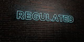 REGULATED -Realistic Neon Sign on Brick Wall background - 3D rendered royalty free stock image. Can be used for online banner ads and direct mailers Vector Illustration