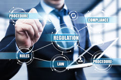 Regulation Compliance Rules Law Standard Business Technology concept.  Royalty Free Stock Images