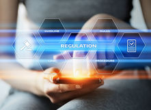 Regulation Compliance Rules Law Standard Business Technology concept.  Stock Image