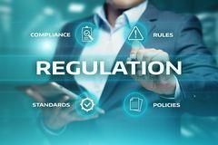 Regulation Compliance Rules Law Standard Business Technology concept.  Stock Photo
