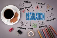 Regulation. On gray table coffee mug, pencils and cookies Stock Image