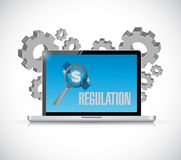 Regulation notice sign on a computer screen. Royalty Free Stock Images