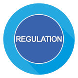 "Regulation sign. A blue round sign with the label ""regulation Stock Photo"