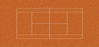 Regulation tennis court CLAY. Regulation tennis court with clay texture, to ITF specifications. The clay court is used in the French Open. 1 pica=1 foot Stock Photos