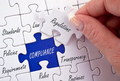 Compliance and Regulations or Policies jigsaw. A jigsaw with each piece labelled with features related to regulations and compliance such as transparency stock images