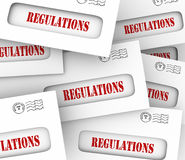 Regulations Envelopes Pile Official Notification New Guidelines. Pile of envelopes with word Regulated as official notifications overseeing your business, home vector illustration