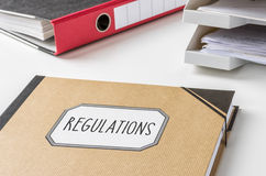 Regulations. A folder with the label Regulations Royalty Free Stock Photo