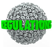 Regulations Word Letter Ball Sphere Rules Laws Guidelines. Regulations word in green 3d letters on a ball or sphere of letters illustrating the overwhelming Stock Photography