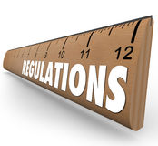 Regulations Word Wooden Ruler Measurement Rules Guidelines Stock Photo