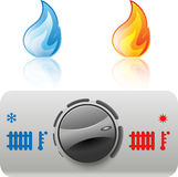 Regulator boiler. Heating and hot water. Flame icon. Illustration Stock Images