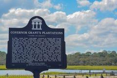 RegulatorGrants Plantations Landmark tecken, i det St Johns länet, Florida fotografering för bildbyråer