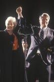 Regulatorn Bill Clinton och regulatorn Ann Richards på en Texas aktion samlar i 1992 på hans sista dag av att delta i en kampanj, Royaltyfria Foton