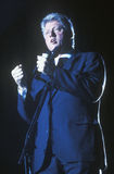 Regulatorn Bill Clinton talar på en Texas aktion samlar i 1992 på hans sista dag av att delta i en kampanj i McAllen, Texas Arkivbild