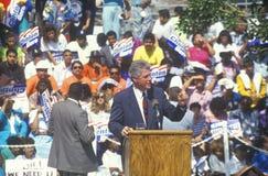 Regulatorn Bill Clinton talar på Maxine Waters Employment Preparation Center i 1992 in så Central LA Royaltyfri Foto