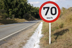 Regulatory board speed on road 70 4283 Royalty Free Stock Image