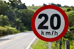 Regulatory board speed on road 20 5140 Stock Images