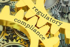 Regulatory compliance concept on the gearwheels, 3D rendering Royalty Free Stock Images