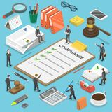 Regulatory compliance flat isometric vector concept. Businessmen are discussing steps to comply with relevant laws, policies, and regulations vector illustration