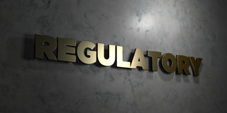 Regulatory - Gold text on black background - 3D rendered royalty free stock picture Stock Photos