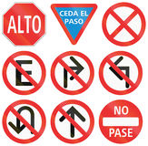 Regulatory Road Signs In Mexico Stock Images