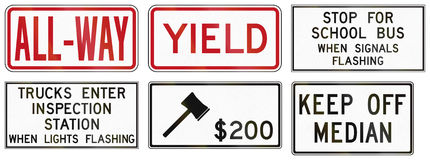 Regulatory road signs in Ontario - Canada Royalty Free Stock Photos