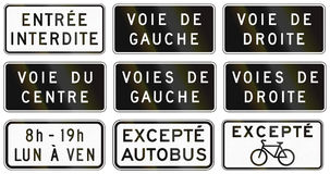 Regulatory road signs in Quebec - Canada Stock Image
