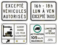 Regulatory road signs in Quebec - Canada Royalty Free Stock Photos