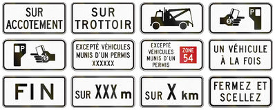 Regulatory road signs in Quebec - Canada Royalty Free Stock Images