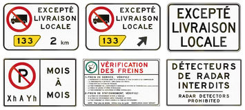 Regulatory road signs in Quebec - Canada Stock Photos