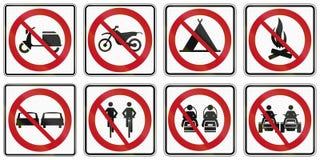 Regulatory road signs in Quebec - Canada. Collection of Regulatory road signs in Quebec - Canada stock illustration