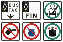 Regulatory road signs in Quebec - Canada. Collection of Regulatory road signs in Quebec - Canada Royalty Free Stock Photo