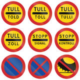 Regulatory Road signs used in Sweden Stock Photo