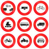 Regulatory road signs used in Switzerland. Collection of Regulatory road signs used in Switzerland Royalty Free Stock Photo